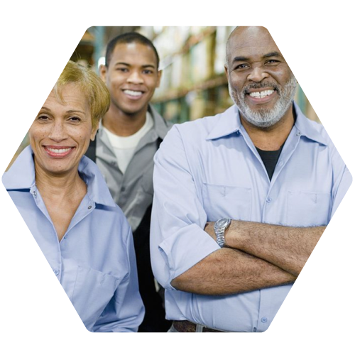 group of smiling manufacturing workers